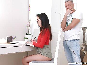Cock-loving Asian schoolgirl Li Smoothness fucks her white teacher